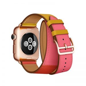 iCarer Apple Watch Band 38mm/40mm Hermes Cow Leather Double Coffee/Rose