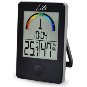 Ψηφιακό θερμόμετρο / υγρόμετρο εσωτερικού χώρου με ρολόι LIFE iTemp Black